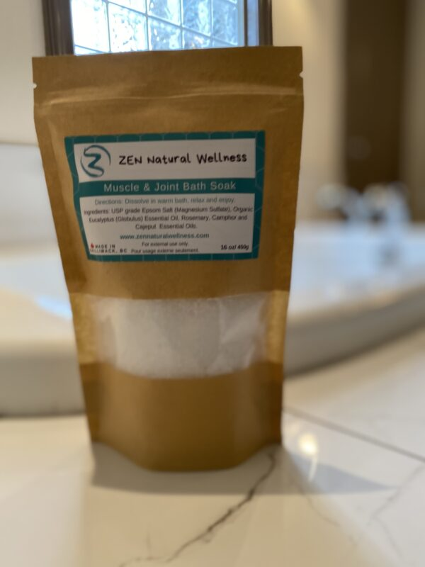 Epsom salt, bath soak, epsom salt soak, muscle & joint Bath soak, pain relief, natural products, zen natural wellness